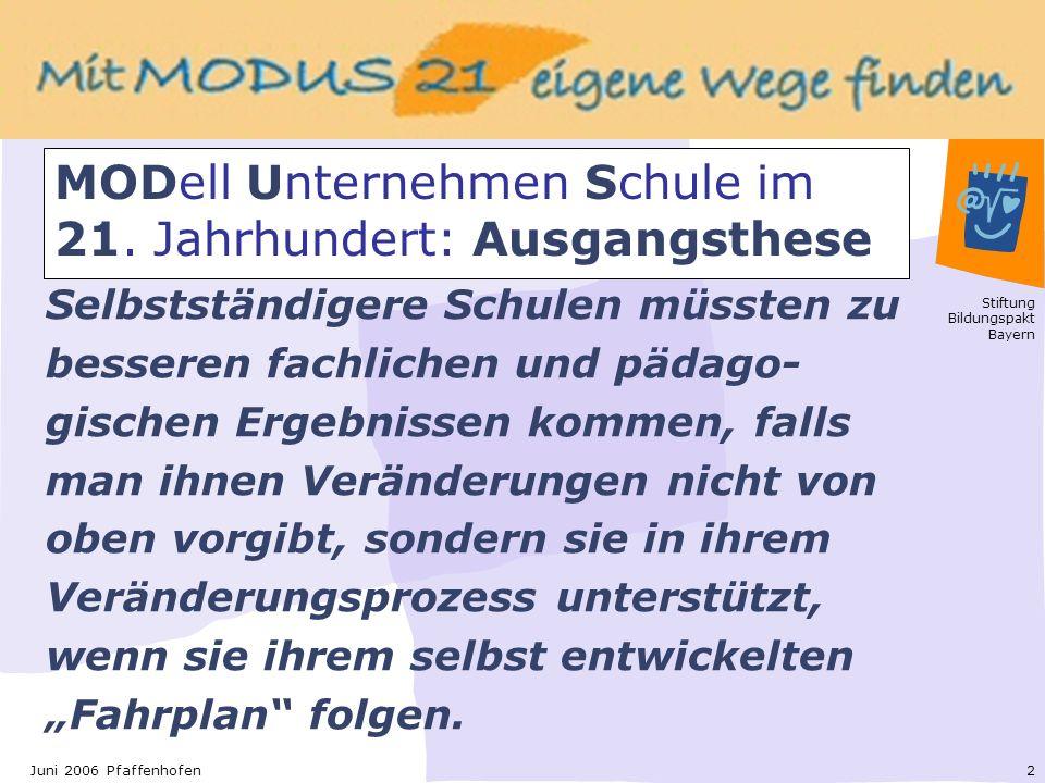 Stiftung Bildungspakt Bayern 2Juni 2006 Pfaffenhofen Selbstständigere Schulen müssten zu besseren fachlichen und pädago- gischen Ergebnissen kommen, falls man ihnen Veränderungen nicht von oben vorgibt, sondern sie in ihrem Veränderungsprozess unterstützt, wenn sie ihrem selbst entwickelten Fahrplan folgen.