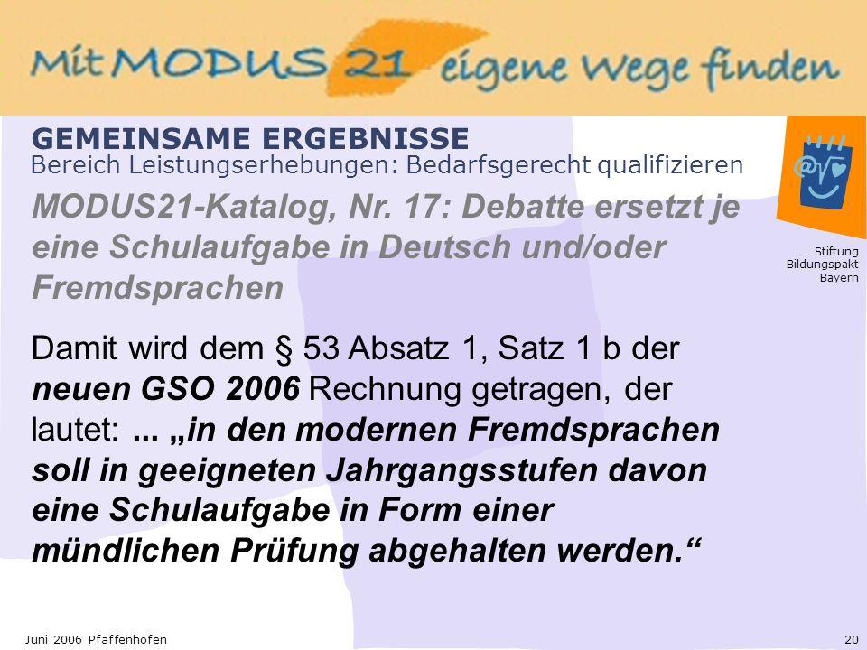 Stiftung Bildungspakt Bayern 20Juni 2006 Pfaffenhofen Bereich Leistungserhebungen: Bedarfsgerecht qualifizieren MODUS21-Katalog, Nr.