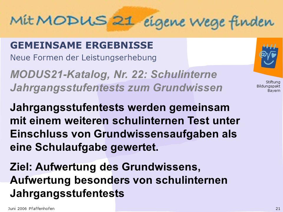 Stiftung Bildungspakt Bayern 21Juni 2006 Pfaffenhofen Neue Formen der Leistungserhebung MODUS21-Katalog, Nr.