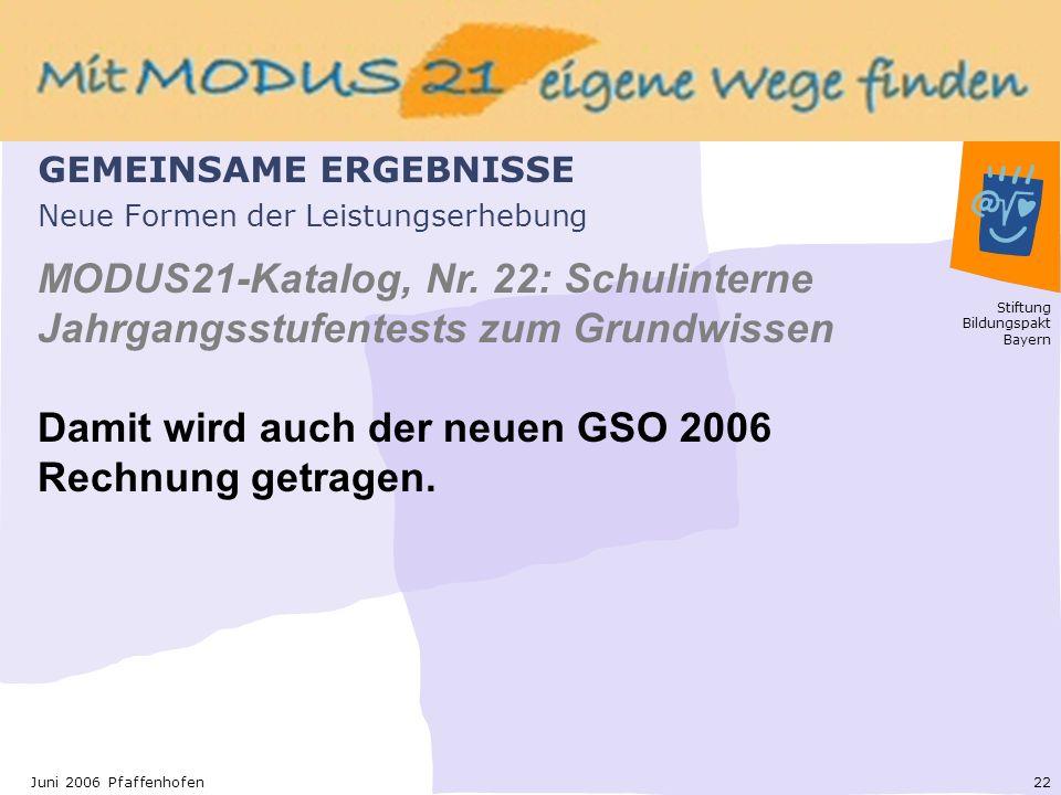 Stiftung Bildungspakt Bayern 22Juni 2006 Pfaffenhofen Neue Formen der Leistungserhebung MODUS21-Katalog, Nr.
