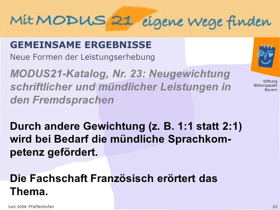Stiftung Bildungspakt Bayern 23Juni 2006 Pfaffenhofen Neue Formen der Leistungserhebung MODUS21-Katalog, Nr.