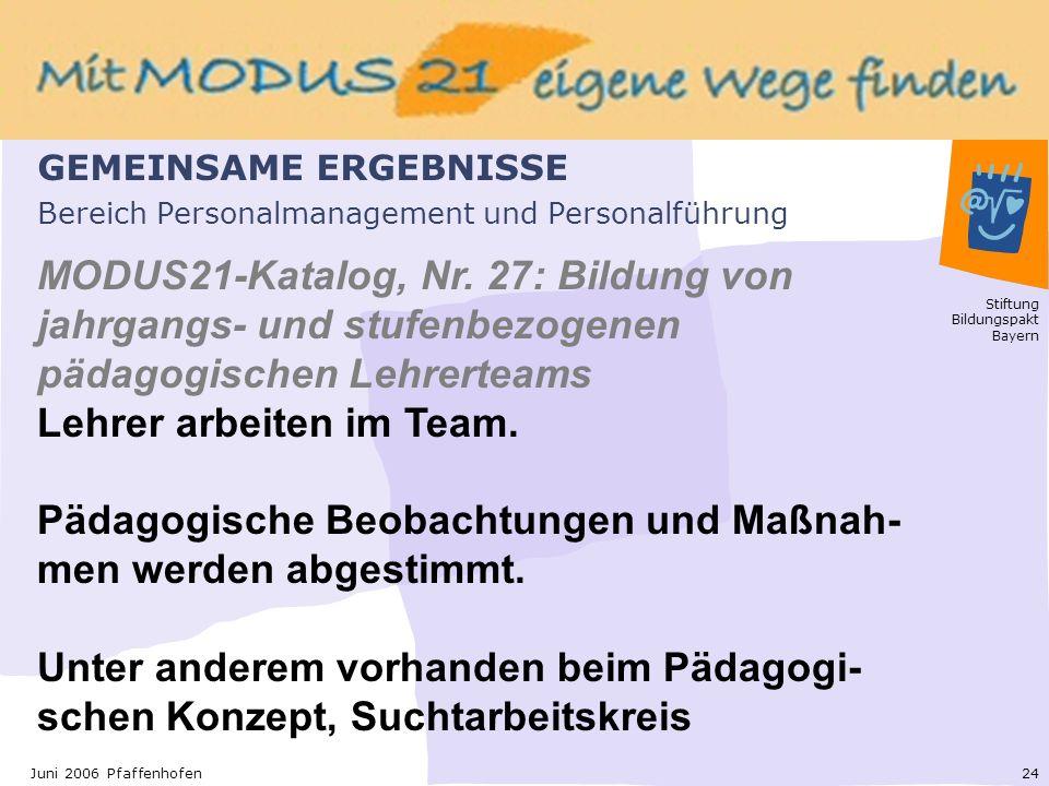 Stiftung Bildungspakt Bayern 24Juni 2006 Pfaffenhofen Bereich Personalmanagement und Personalführung MODUS21-Katalog, Nr.