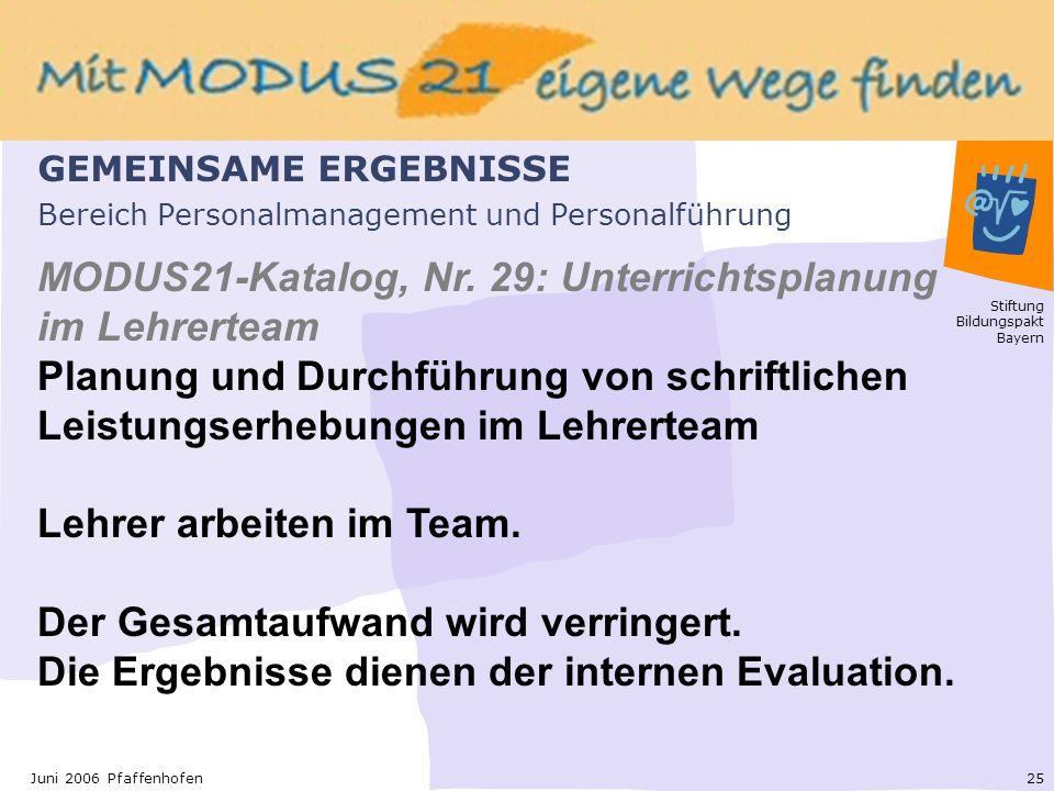 Stiftung Bildungspakt Bayern 25Juni 2006 Pfaffenhofen Bereich Personalmanagement und Personalführung MODUS21-Katalog, Nr.