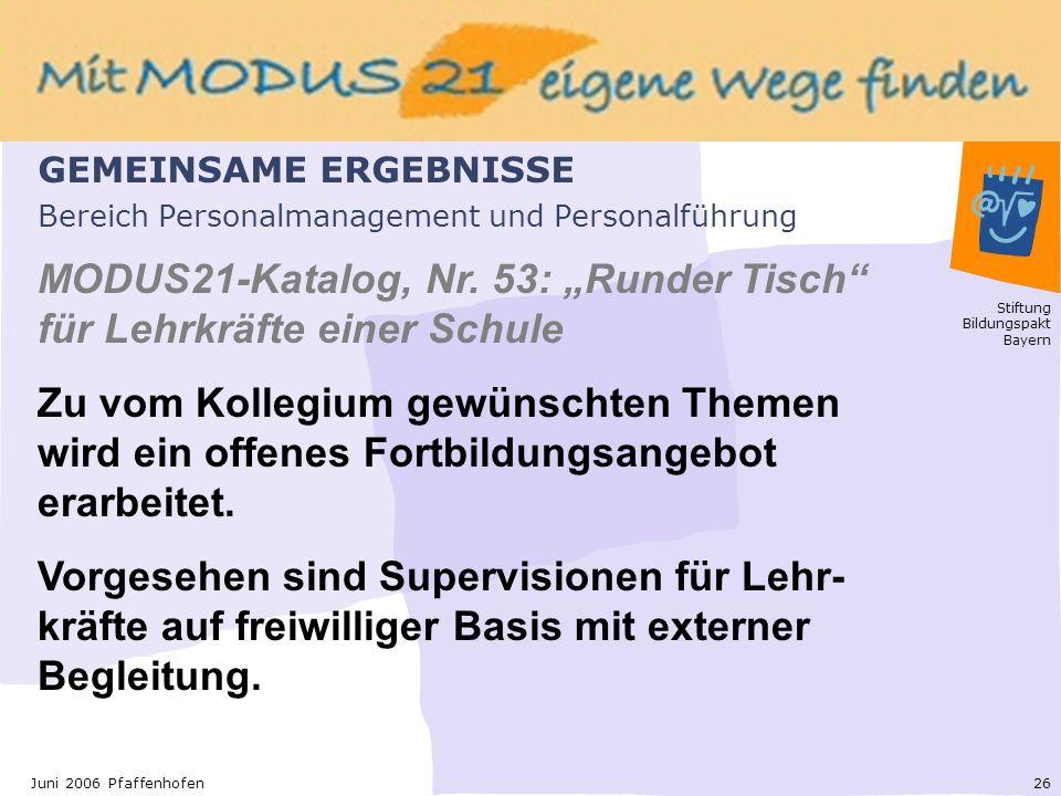 Stiftung Bildungspakt Bayern 26Juni 2006 Pfaffenhofen Bereich Personalmanagement und Personalführung MODUS21-Katalog, Nr.