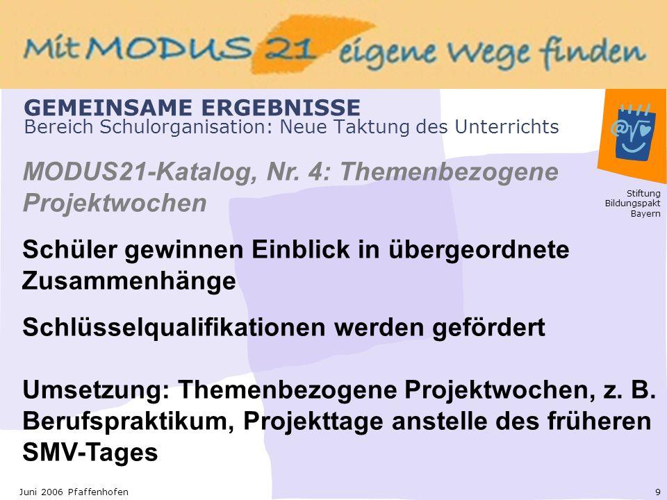 Stiftung Bildungspakt Bayern 9Juni 2006 Pfaffenhofen GEMEINSAME ERGEBNISSE Bereich Schulorganisation: Neue Taktung des Unterrichts MODUS21-Katalog, Nr.