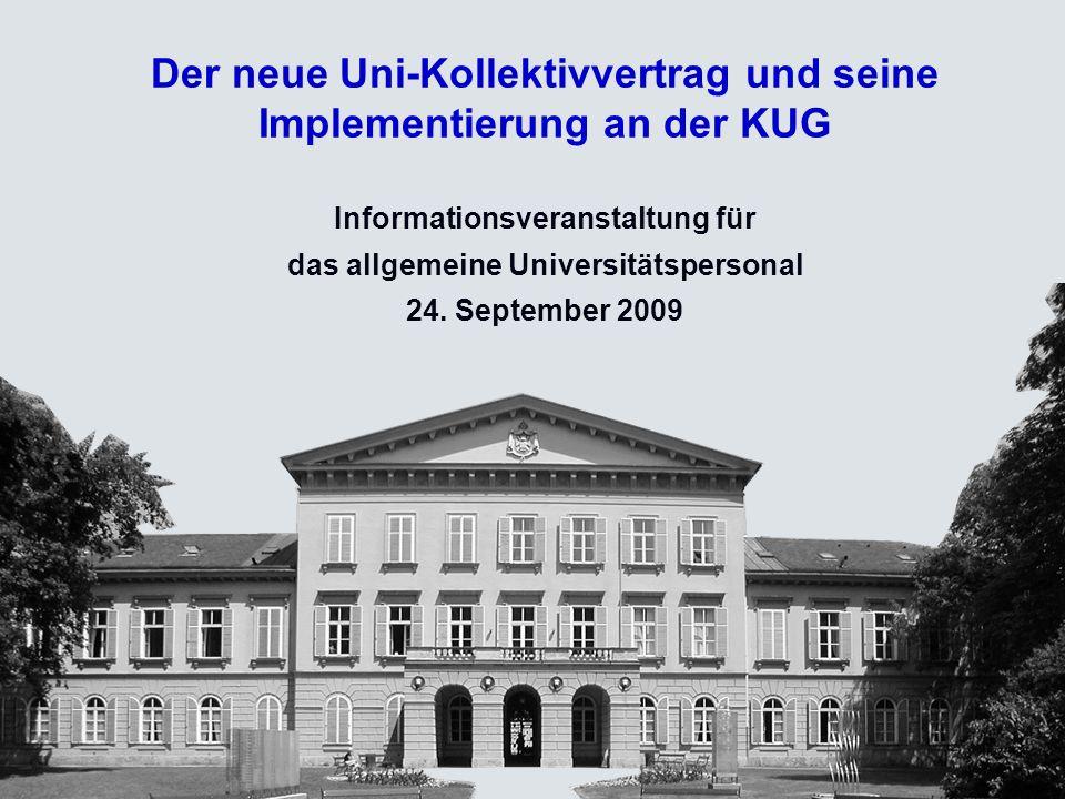 Der neue Uni-Kollektivvertrag und seine Implementierung an der KUG Informationsveranstaltung für das allgemeine Universitätspersonal 24.