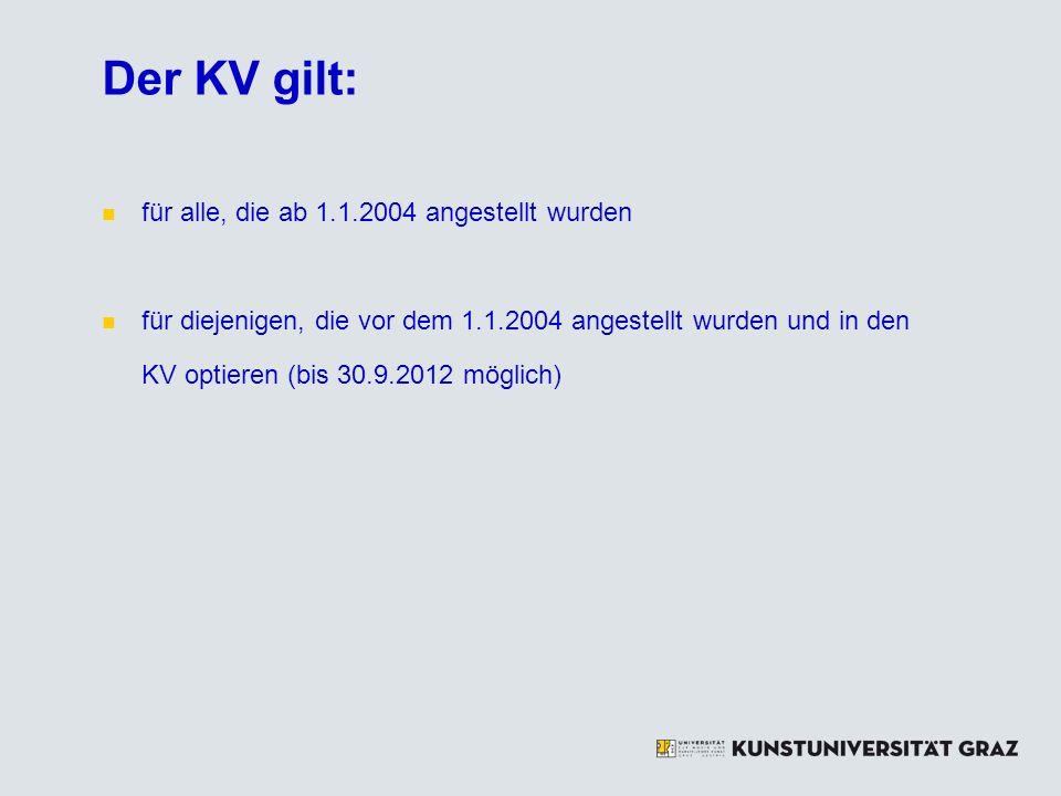 Der KV gilt: für alle, die ab 1.1.2004 angestellt wurden für diejenigen, die vor dem 1.1.2004 angestellt wurden und in den KV optieren (bis 30.9.2012 möglich)