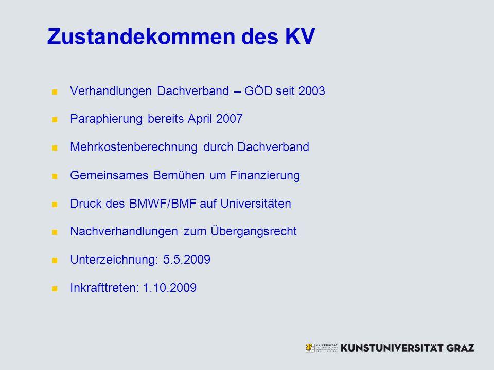 Zustandekommen des KV Verhandlungen Dachverband – GÖD seit 2003 Paraphierung bereits April 2007 Mehrkostenberechnung durch Dachverband Gemeinsames Bemühen um Finanzierung Druck des BMWF/BMF auf Universitäten Nachverhandlungen zum Übergangsrecht Unterzeichnung: 5.5.2009 Inkrafttreten: 1.10.2009