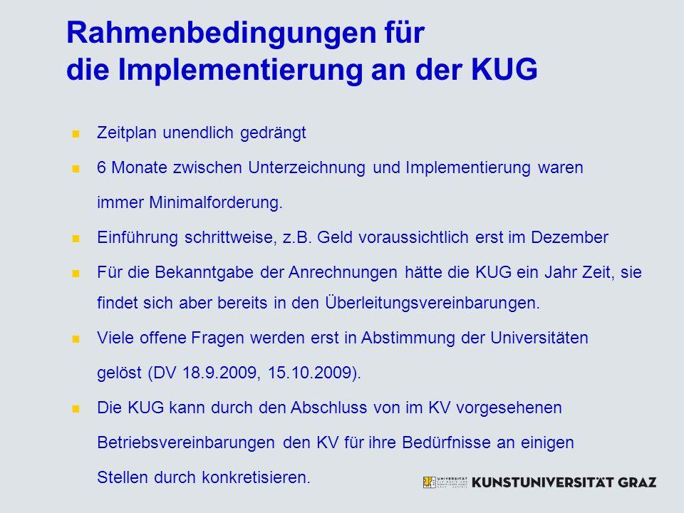 Rahmenbedingungen für die Implementierung an der KUG Zeitplan unendlich gedrängt 6 Monate zwischen Unterzeichnung und Implementierung waren immer Minimalforderung.