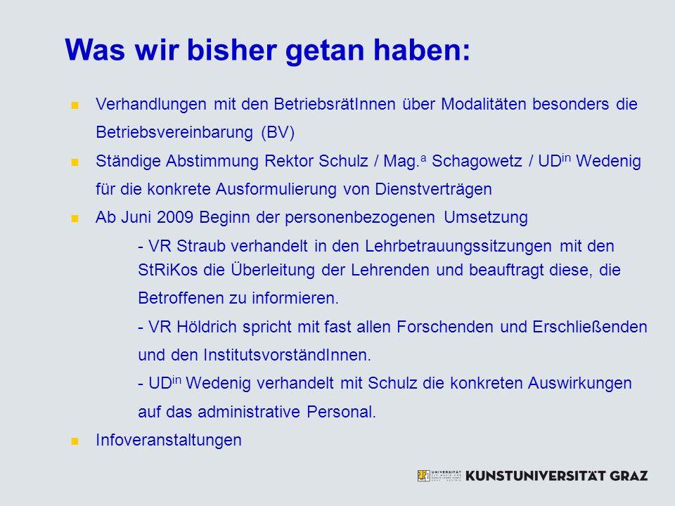 Grundstruktur & Eckpunkte des KV KV ist eine generelle Regelung von (Mindest-)Arbeitsbedingungen KV ersetzt zur Gänze VBG KV ergänzt gesetzliches Arbeitsrecht (Angestelltengesetz, Urlaubsgesetz, Arbeitsverfassungsgesetz, Universitätsgesetz) KV kann durch die in ihm vorgesehenen BVs und durch die Einzelverträge konkretisiert werden