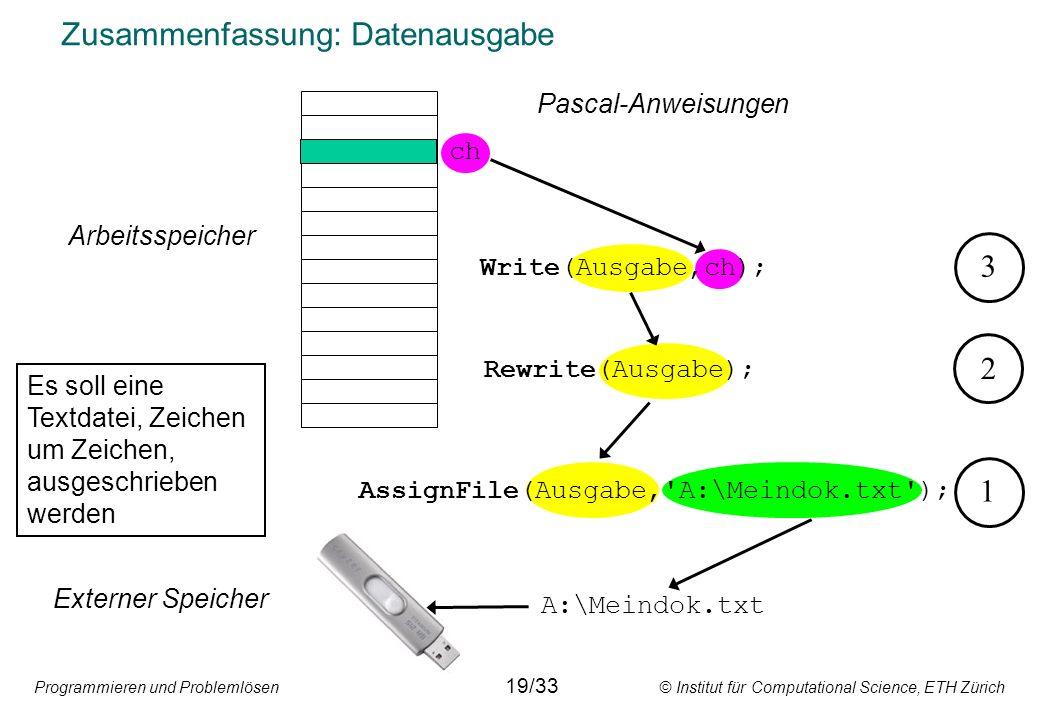 Programmieren und Problemlösen © Institut für Computational Science, ETH Zürich Zusammenfassung: Datenausgabe A:\Meindok.txt ch Externer Speicher Arbe