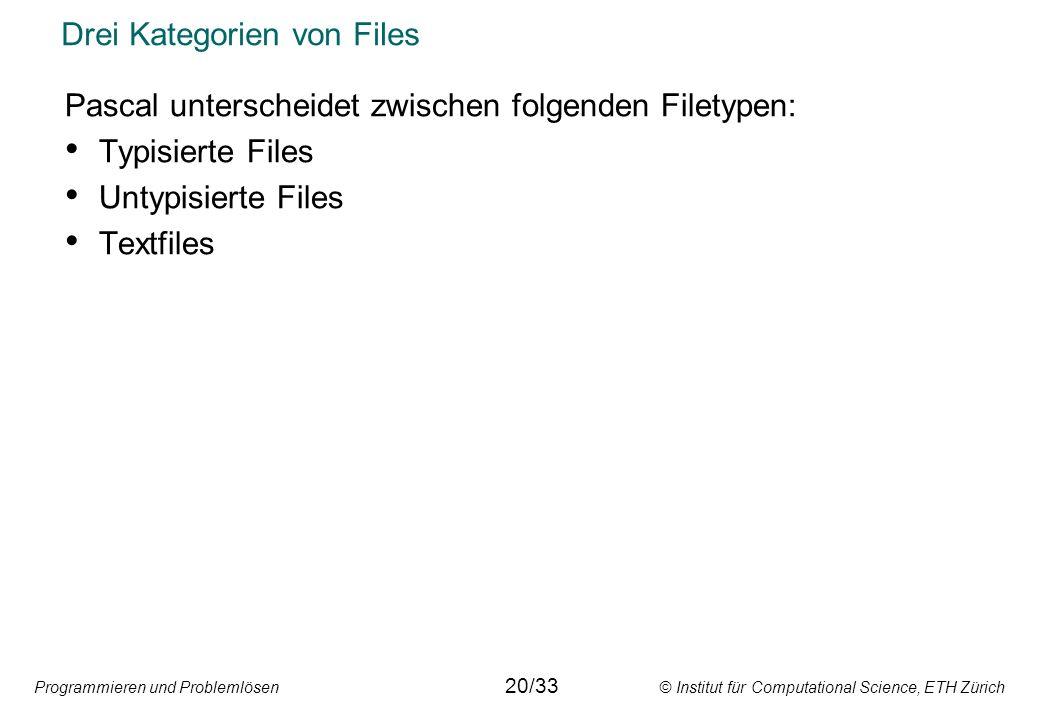 Programmieren und Problemlösen © Institut für Computational Science, ETH Zürich Drei Kategorien von Files Pascal unterscheidet zwischen folgenden File