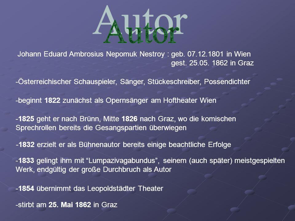 Johann Eduard Ambrosius Nepomuk Nestroy : geb. 07.12.1801 in Wien gest. 25.05. 1862 in Graz -Österreichischer Schauspieler, Sänger, Stückeschreiber, P