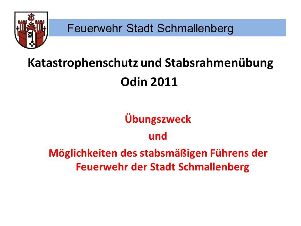 Feuerwehr Stadt Schmallenberg Stabsrahmenübung Odin vom 24.11.-27.11.2011 Was ist jetzt zu tun: Anmelden zu den Schulungen Anmelden zur Stabsrahmenübung mit Funktionswunsch