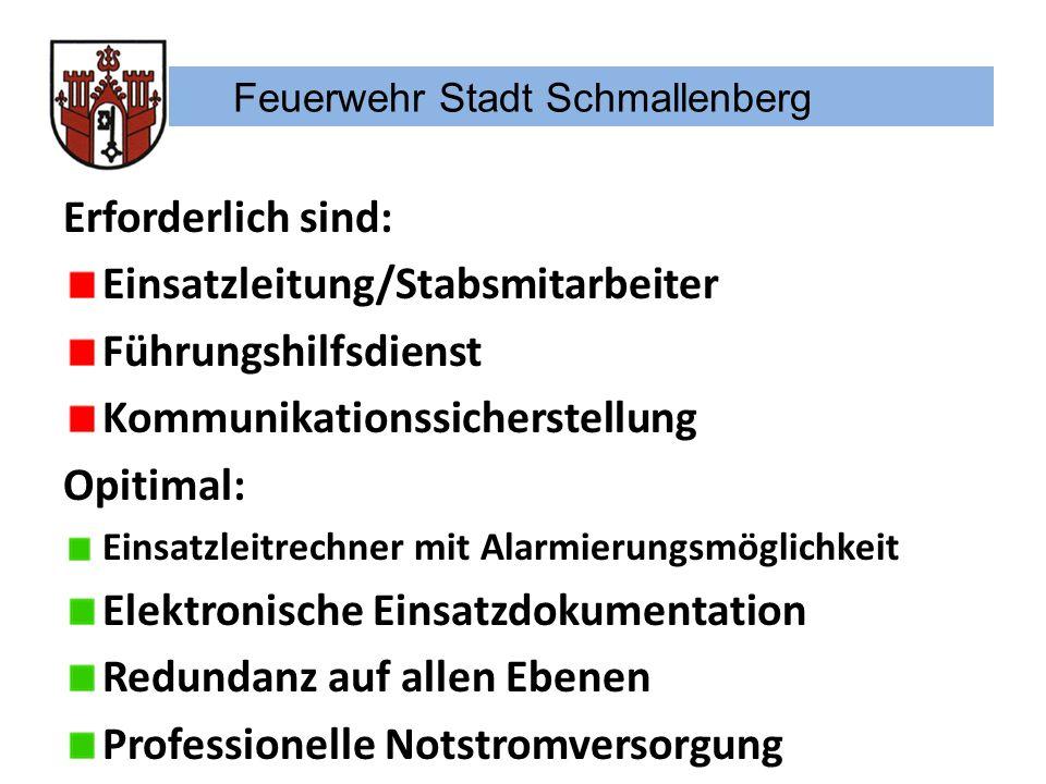 Feuerwehr Stadt Schmallenberg Erforderlich sind: Einsatzleitung/Stabsmitarbeiter Führungshilfsdienst Kommunikationssicherstellung Opitimal: Einsatzlei
