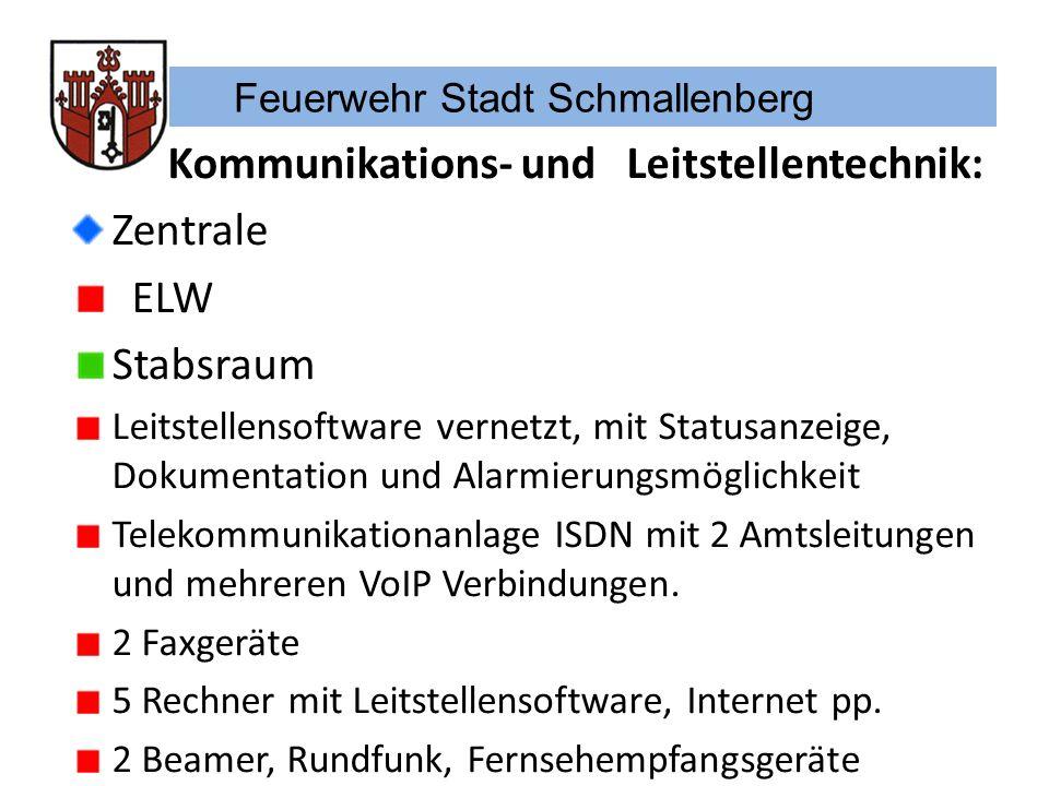 Feuerwehr Stadt Schmallenberg Kommunikations- und Leitstellentechnik: Zentrale ELW Stabsraum Leitstellensoftware vernetzt, mit Statusanzeige, Dokument
