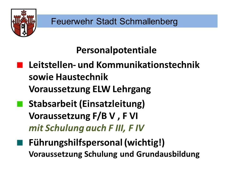 Feuerwehr Stadt Schmallenberg Personalpotentiale Leitstellen- und Kommunikationstechnik sowie Haustechnik Voraussetzung ELW Lehrgang Stabsarbeit (Eins