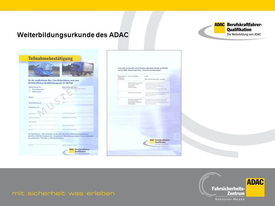 Weiterbildungsurkunde des ADAC