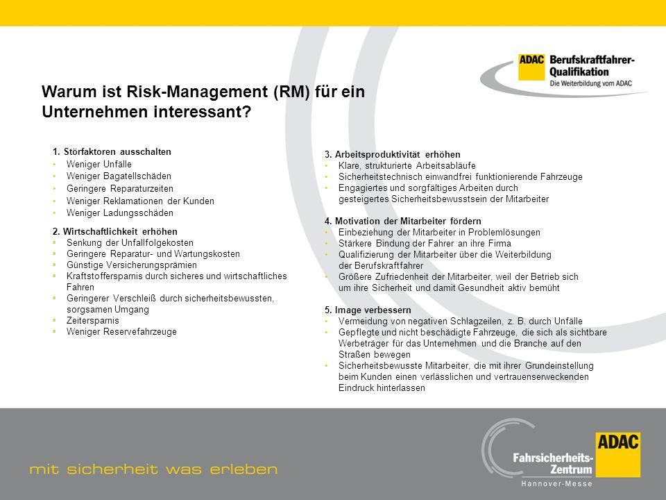Warum ist Risk-Management (RM) für ein Unternehmen interessant? 1. Störfaktoren ausschalten Weniger Unfälle Weniger Bagatellschäden Geringere Reparatu