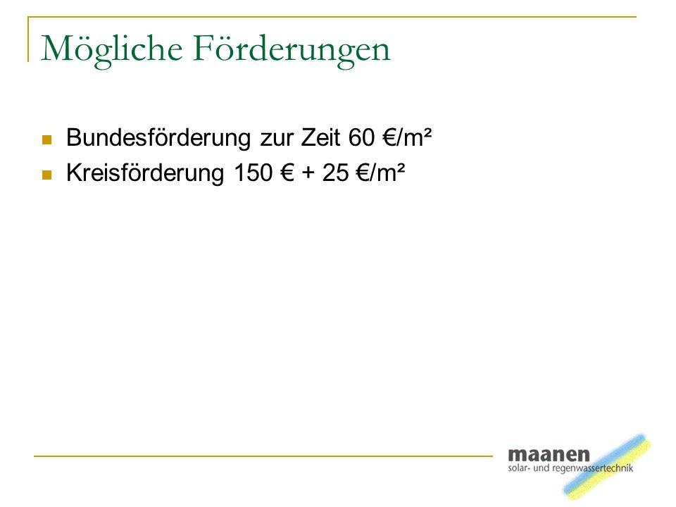 Mögliche Förderungen Bundesförderung zur Zeit 60 /m² Kreisförderung 150 + 25 /m²