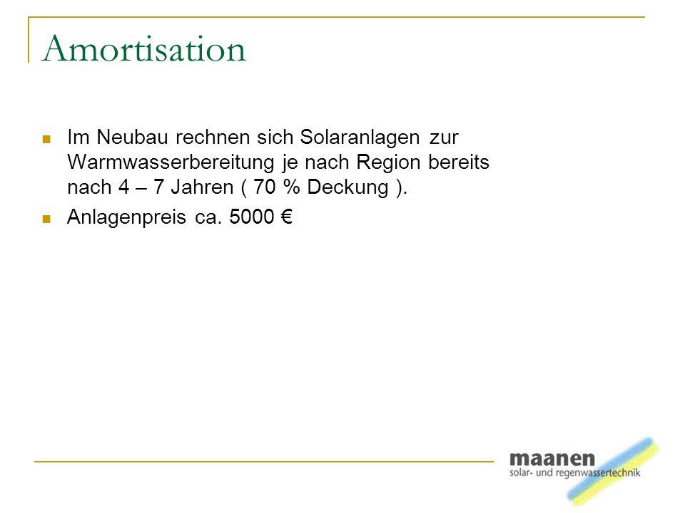 Amortisation Im Neubau rechnen sich Solaranlagen zur Warmwasserbereitung je nach Region bereits nach 4 – 7 Jahren ( 70 % Deckung ). Anlagenpreis ca. 5