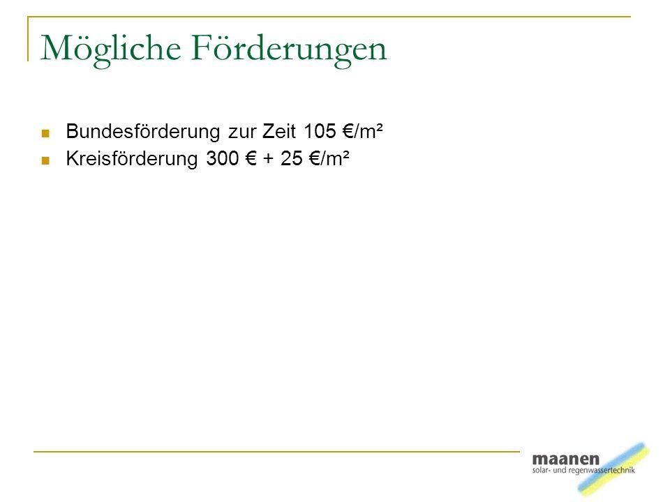Mögliche Förderungen Bundesförderung zur Zeit 105 /m² Kreisförderung 300 + 25 /m²