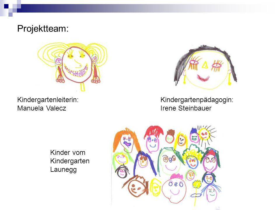 Projektteam: Kindergartenleiterin: Manuela Valecz Kindergartenpädagogin: Irene Steinbauer Kinder vom Kindergarten Launegg