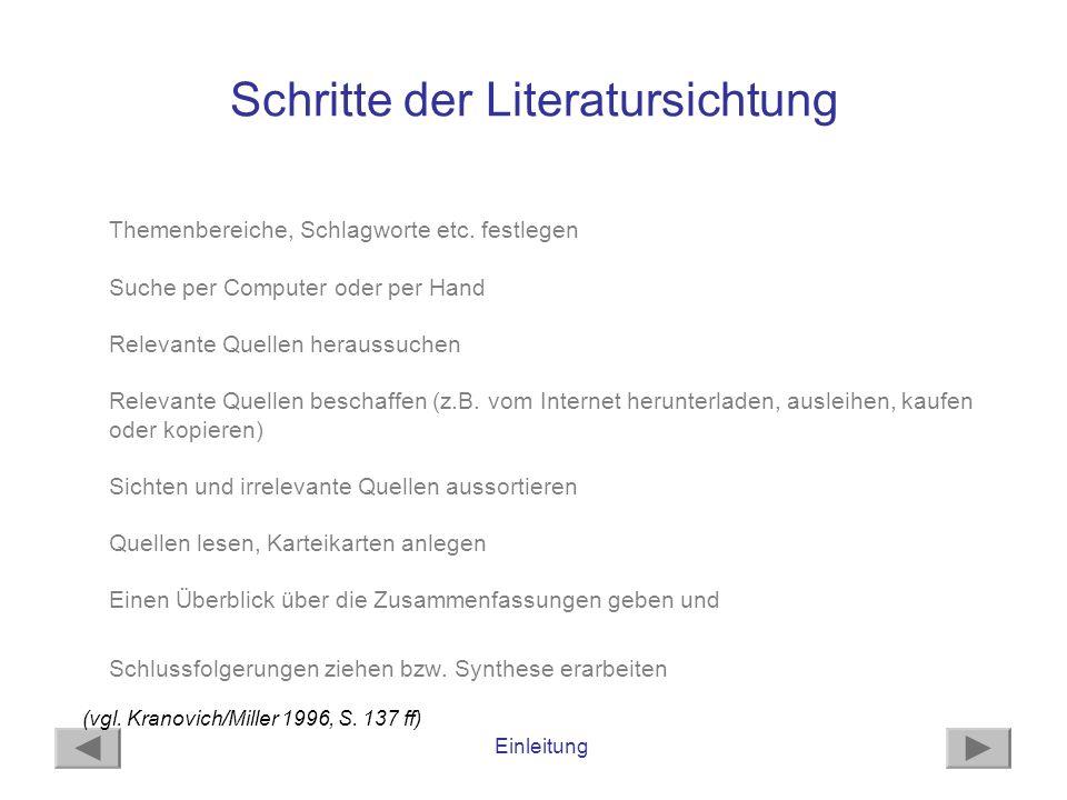 Einleitung Schritte der Literatursichtung Themenbereiche, Schlagworte etc. festlegen Suche per Computer oder per Hand Relevante Quellen heraussuchen R