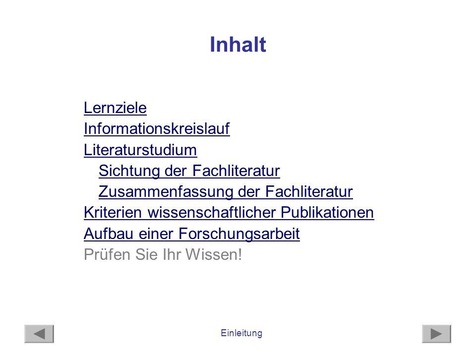 Einleitung Informationskreislauf - 1 WANN werden WO neue Erkenntnisse publiziert.