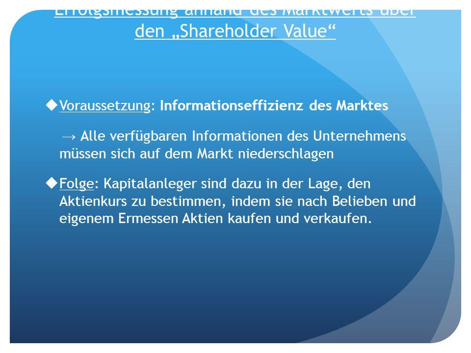 Erfolgsmessung anhand des Marktwerts über den Shareholder Value Voraussetzung: Informationseffizienz des Marktes Alle verfügbaren Informationen des Un