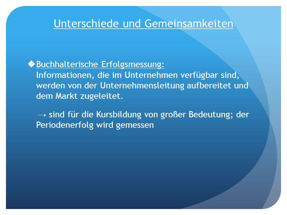 Unterschiede und Gemeinsamkeiten Buchhalterische Erfolgsmessung: Informationen, die im Unternehmen verfügbar sind, werden von der Unternehmensleitung