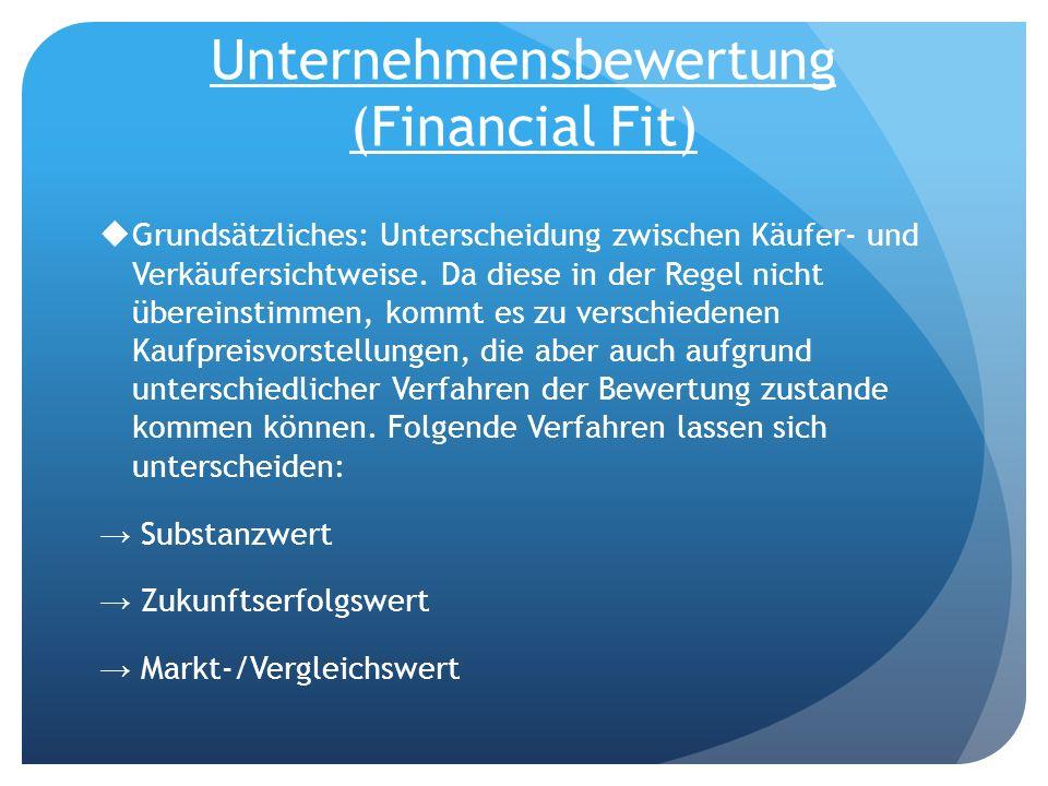 Unternehmensbewertung (Financial Fit) Grundsätzliches: Unterscheidung zwischen Käufer- und Verkäufersichtweise. Da diese in der Regel nicht übereinsti