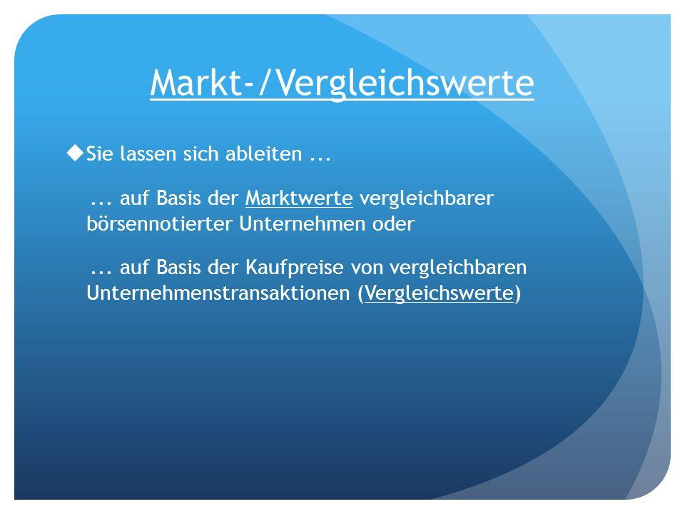 Markt-/Vergleichswerte Sie lassen sich ableiten...... auf Basis der Marktwerte vergleichbarer börsennotierter Unternehmen oder... auf Basis der Kaufpr