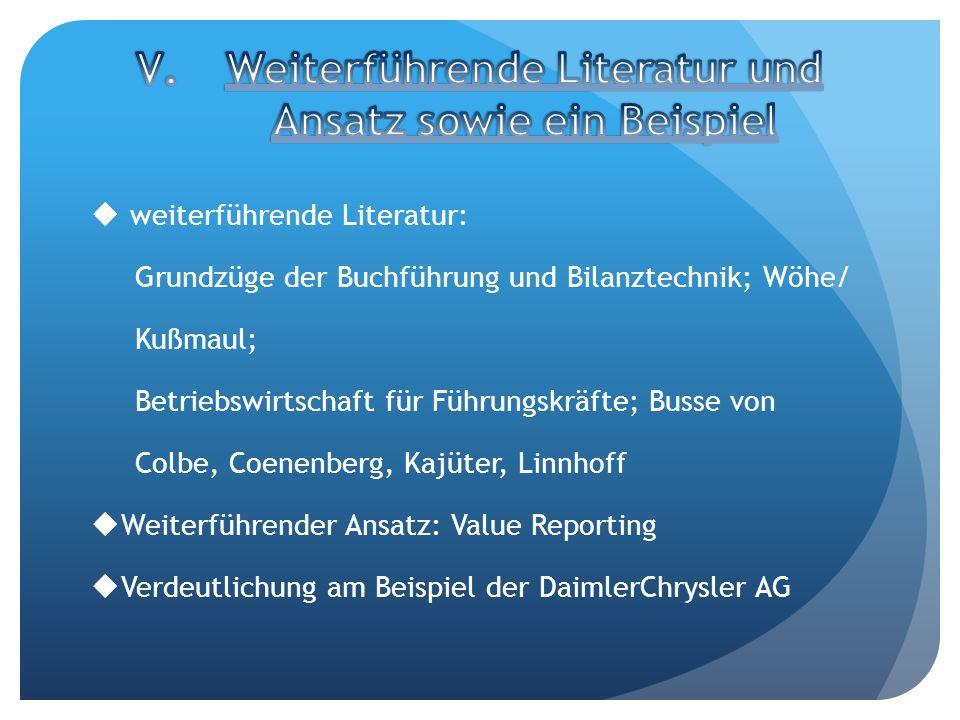 weiterführende Literatur: Grundzüge der Buchführung und Bilanztechnik; Wöhe/ Kußmaul; Betriebswirtschaft für Führungskräfte; Busse von Colbe, Coenenbe