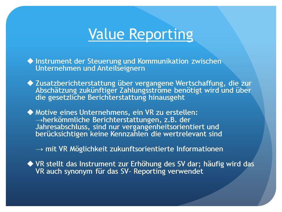 Value Reporting Instrument der Steuerung und Kommunikation zwischen Unternehmen und Anteilseignern Zusatzberichterstattung über vergangene Wertschaffu