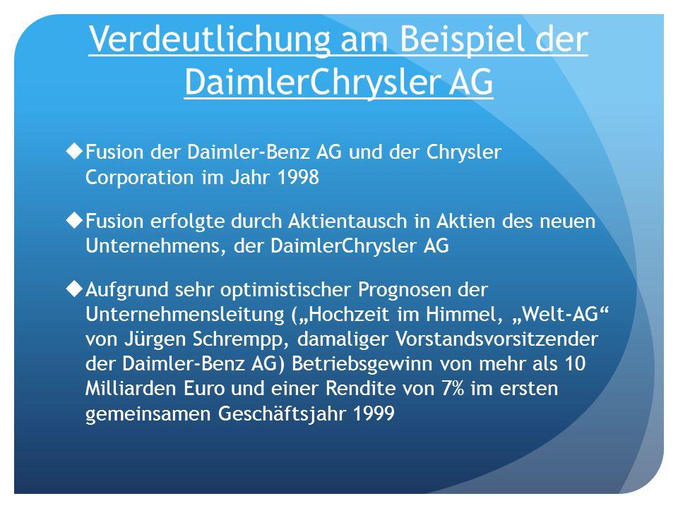 Verdeutlichung am Beispiel der DaimlerChrysler AG Fusion der Daimler-Benz AG und der Chrysler Corporation im Jahr 1998 Fusion erfolgte durch Aktientau