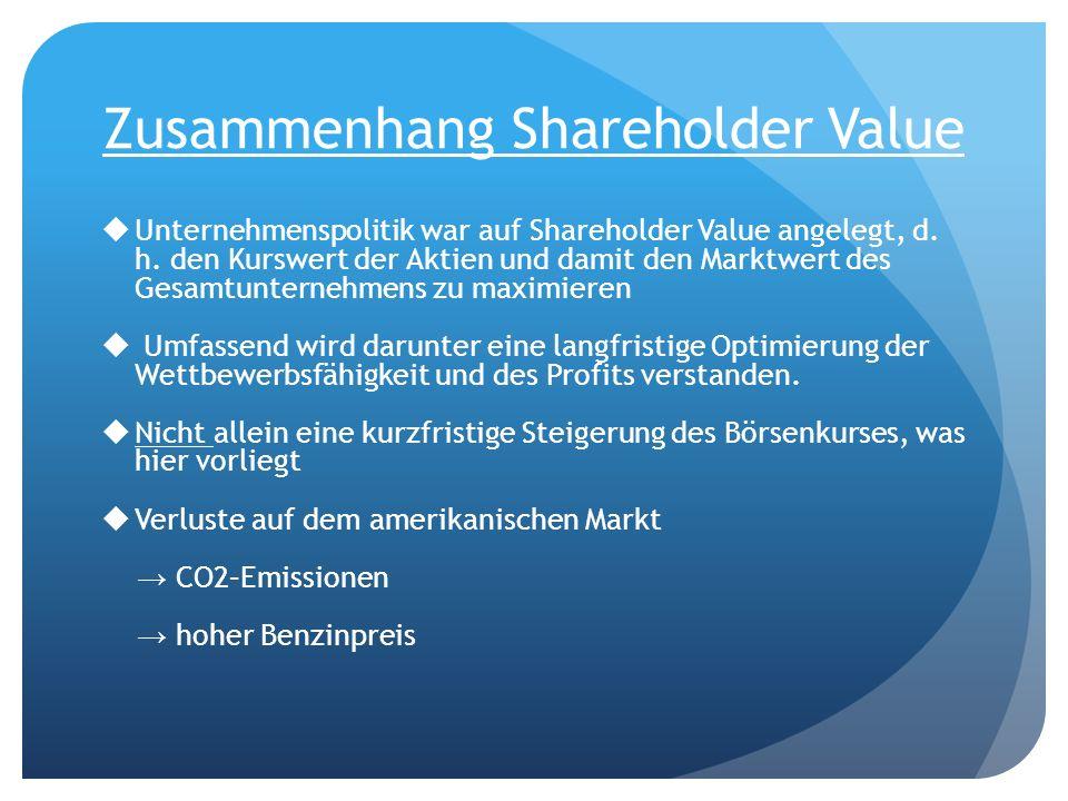 Zusammenhang Shareholder Value Unternehmenspolitik war auf Shareholder Value angelegt, d. h. den Kurswert der Aktien und damit den Marktwert des Gesam