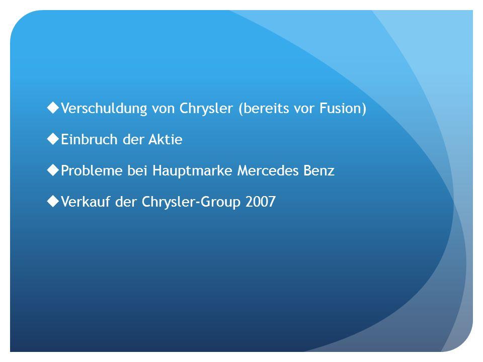 Verschuldung von Chrysler (bereits vor Fusion) Einbruch der Aktie Probleme bei Hauptmarke Mercedes Benz Verkauf der Chrysler-Group 2007