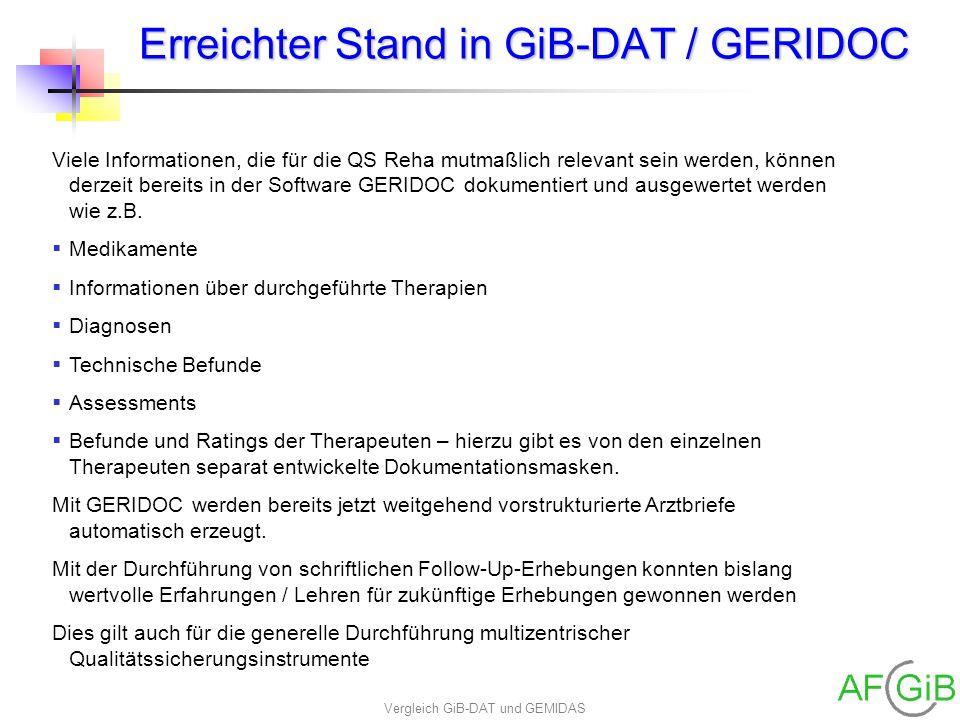 Vergleich GiB-DAT und GEMIDAS Erreichter Stand in GiB-DAT / GERIDOC Viele Informationen, die für die QS Reha mutmaßlich relevant sein werden, können d