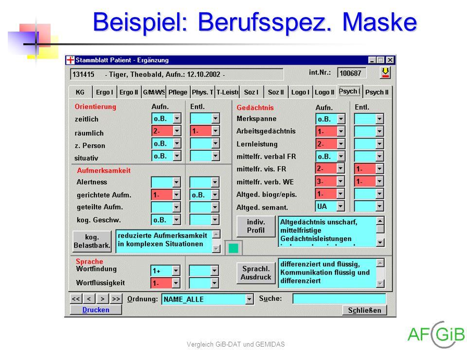 Vergleich GiB-DAT und GEMIDAS Beispiel: Berufsspez. Maske