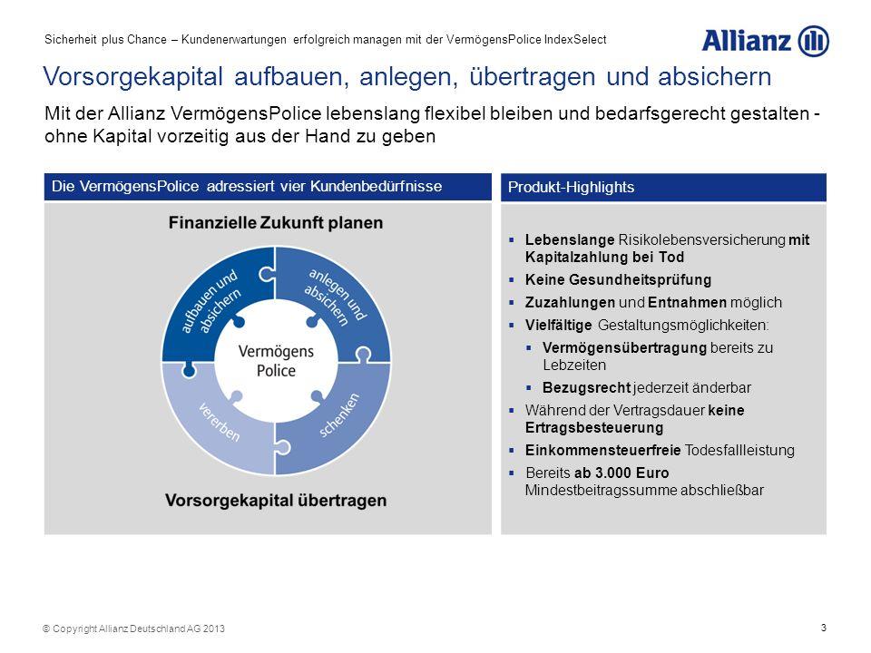 3 Die VermögensPolice adressiert vier Kundenbedürfnisse Vorsorgekapital aufbauen, anlegen, übertragen und absichern Produkt-Highlights Lebenslange Ris