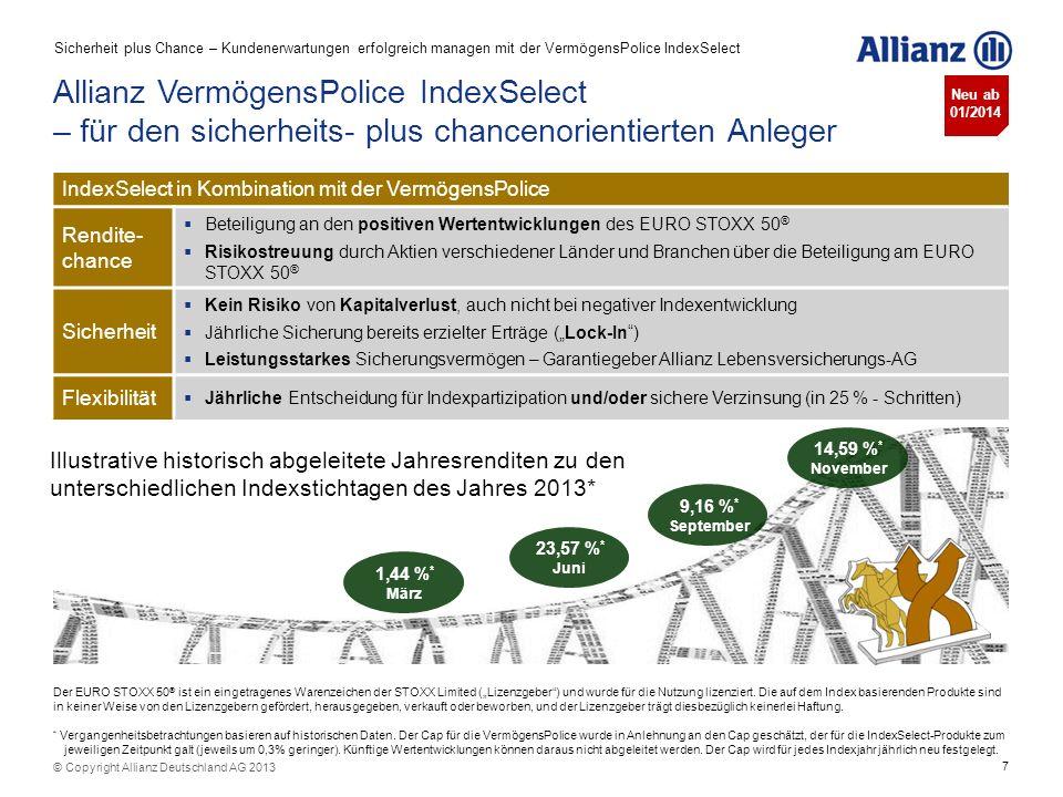 7 © Copyright Allianz Deutschland AG 2013 Allianz VermögensPolice IndexSelect – für den sicherheits- plus chancenorientierten Anleger IndexSelect in K