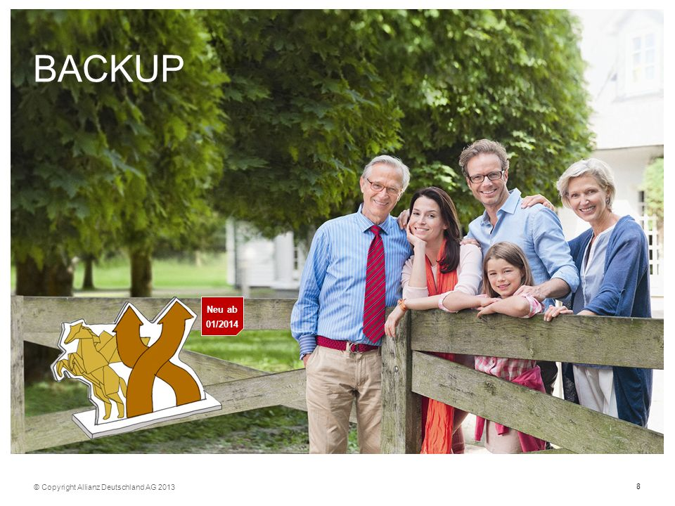 8 BACKUP © Copyright Allianz Deutschland AG 2013 Neu ab 01/2014