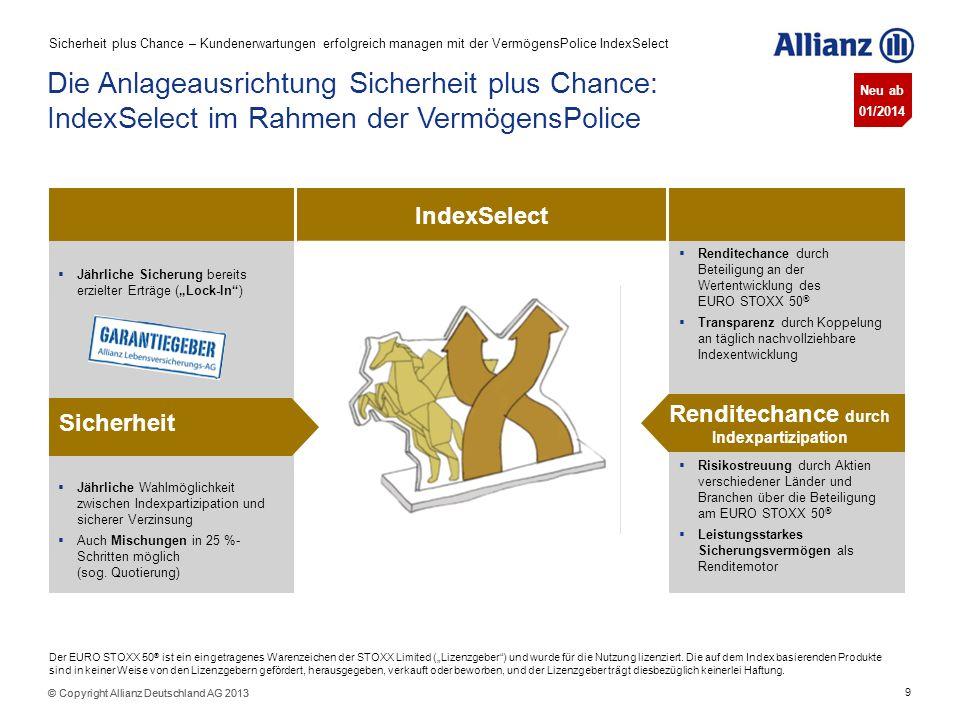 9 © Copyright Allianz Deutschland AG 2013 Risikostreuung durch Aktien verschiedener Länder und Branchen über die Beteiligung am EURO STOXX 50 ® Leistu