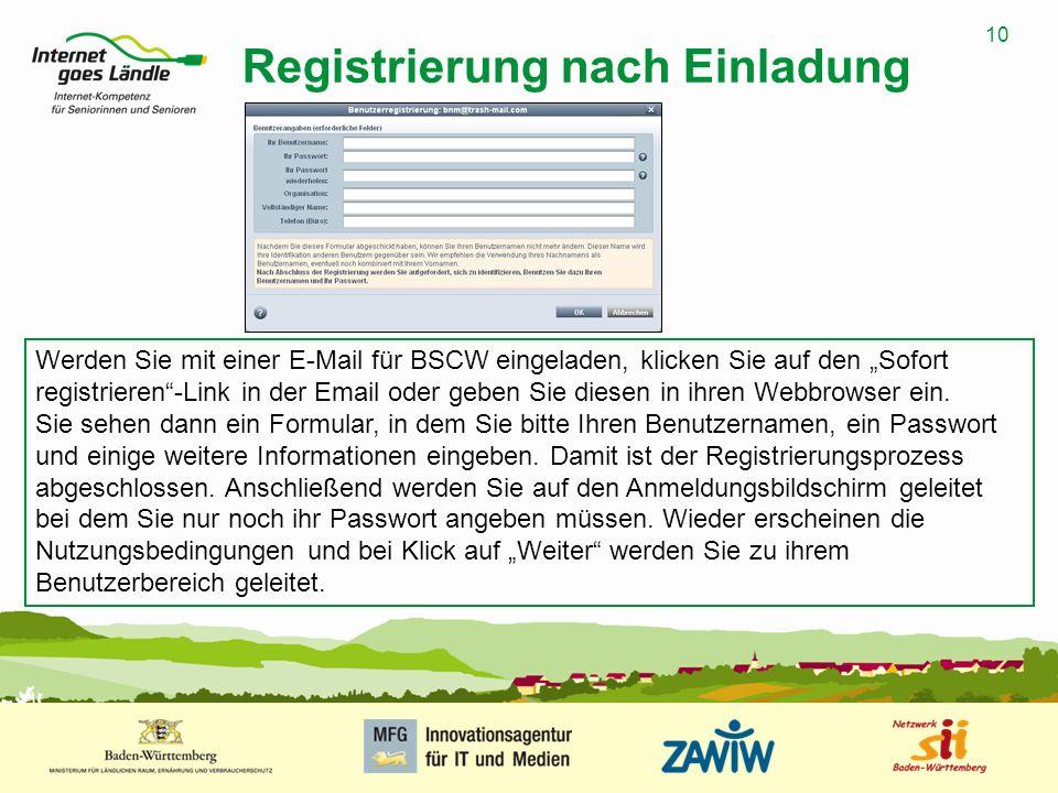 10 MUSTERPRÄSENTATION 09.01.2008 10 Registrierung nach Einladung Werden Sie mit einer E-Mail für BSCW eingeladen, klicken Sie auf den Sofort registrieren-Link in der Email oder geben Sie diesen in ihren Webbrowser ein.