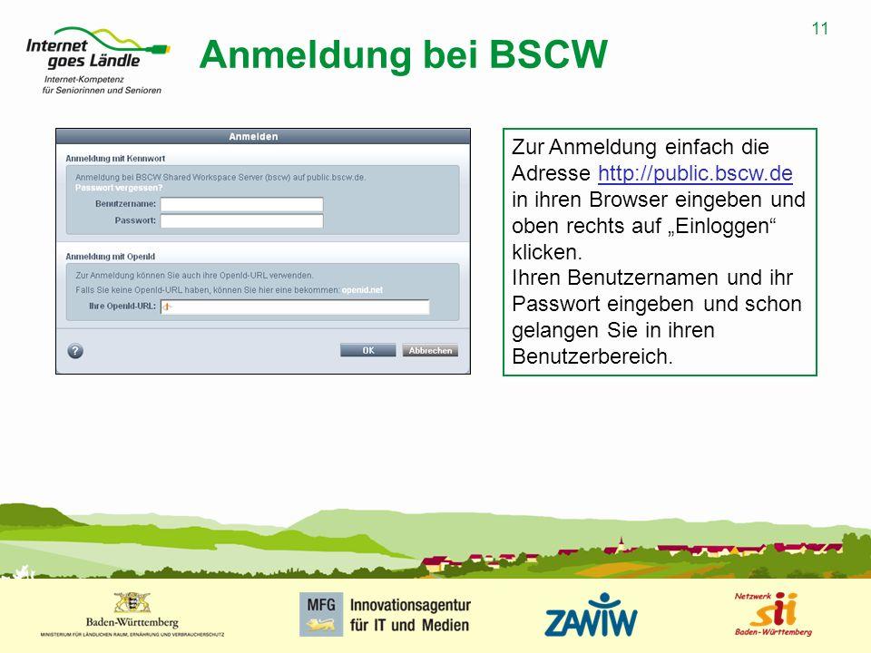 11 MUSTERPRÄSENTATION 09.01.2008 11 Anmeldung bei BSCW Zur Anmeldung einfach die Adresse http://public.bscw.de in ihren Browser eingeben und oben rech