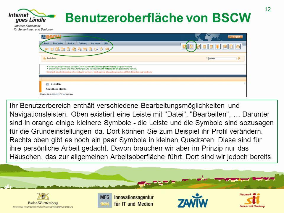 12 MUSTERPRÄSENTATION 09.01.2008 12 Benutzeroberfläche von BSCW Ihr Benutzerbereich enthält verschiedene Bearbeitungsmöglichkeiten und Navigationsleis