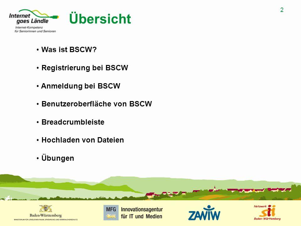 2 MUSTERPRÄSENTATION 09.01.2008 2 Übersicht Was ist BSCW? Registrierung bei BSCW Anmeldung bei BSCW Benutzeroberfläche von BSCW Breadcrumbleiste Hochl