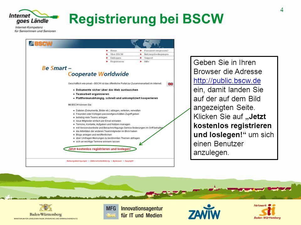 4 MUSTERPRÄSENTATION 09.01.2008 4 Registrierung bei BSCW Geben Sie in Ihren Browser die Adresse http://public.bscw.de ein, damit landen Sie auf der au