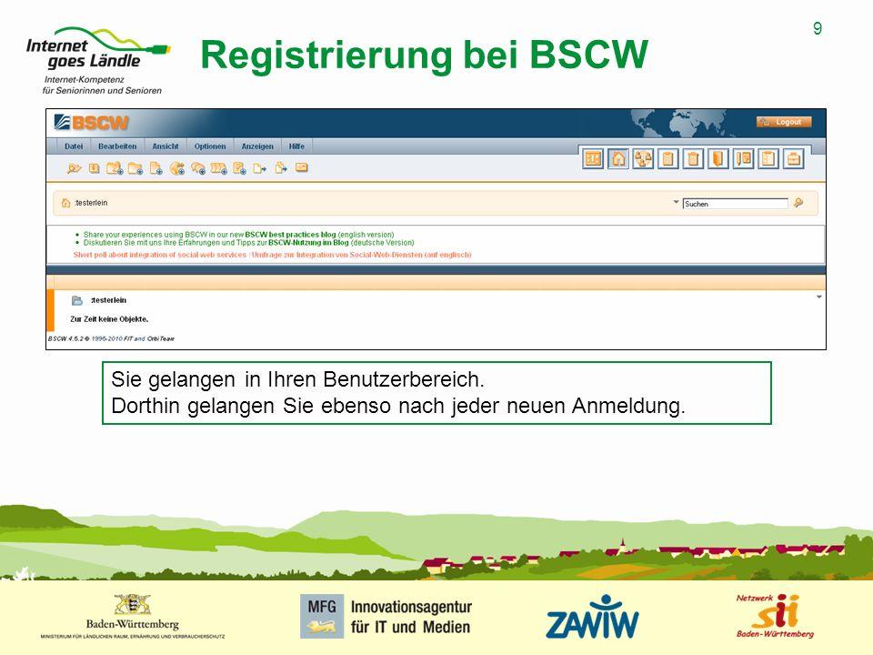 9 MUSTERPRÄSENTATION 09.01.2008 9 Registrierung bei BSCW Sie gelangen in Ihren Benutzerbereich. Dorthin gelangen Sie ebenso nach jeder neuen Anmeldung